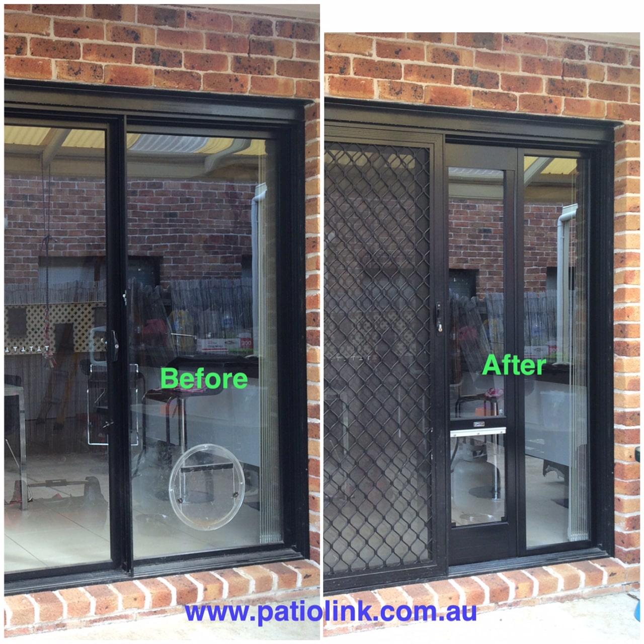 Pet Door Insert Before and After