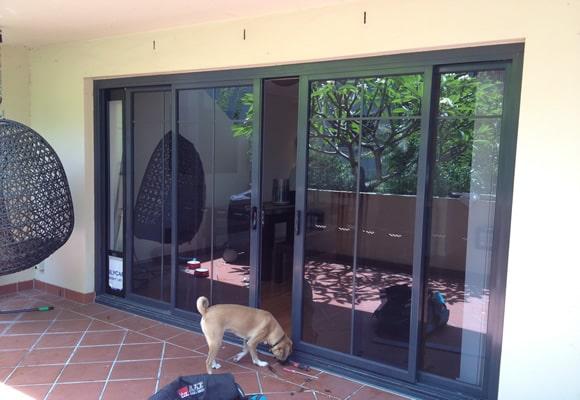 double sliding door with corner install
