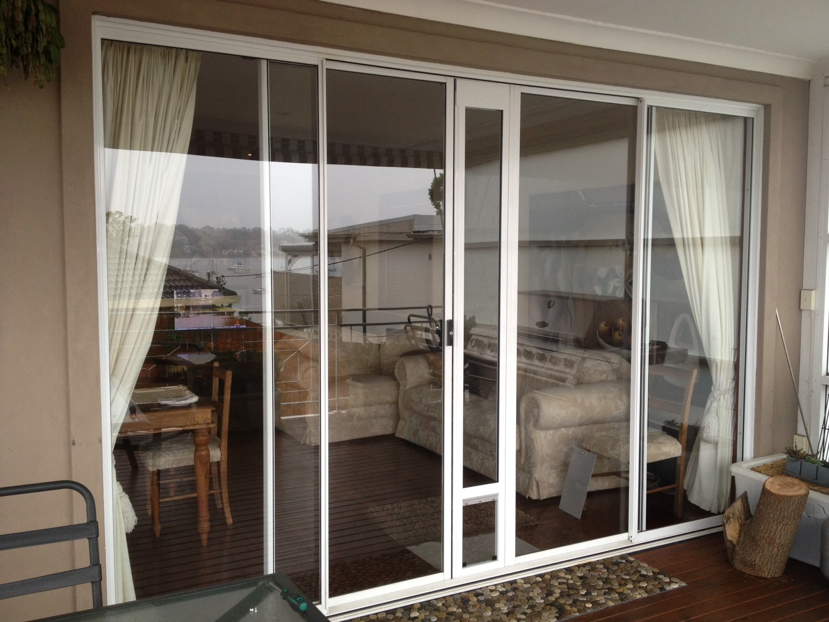 double sliding door middle install with wheels