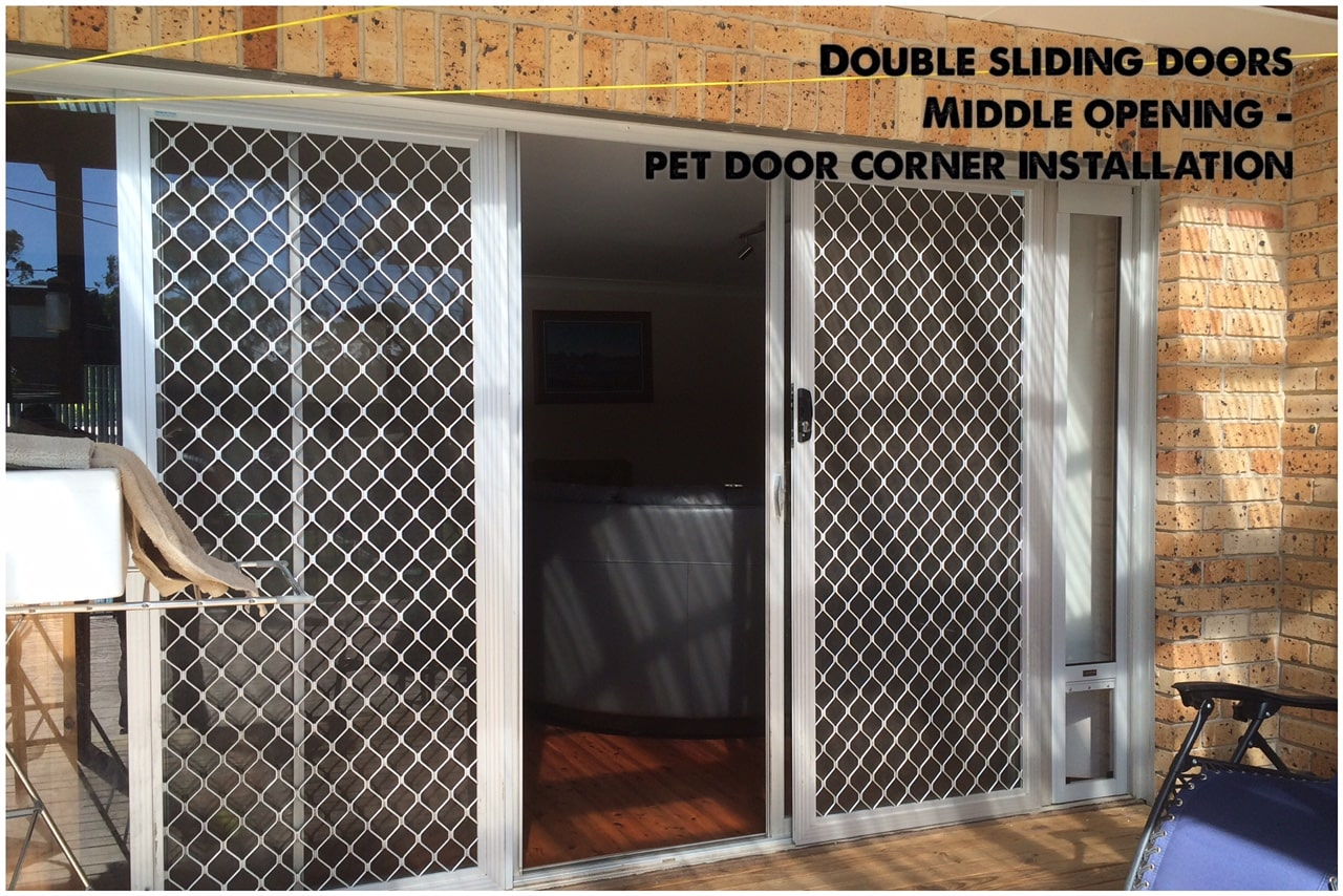 corner installation pet door insert