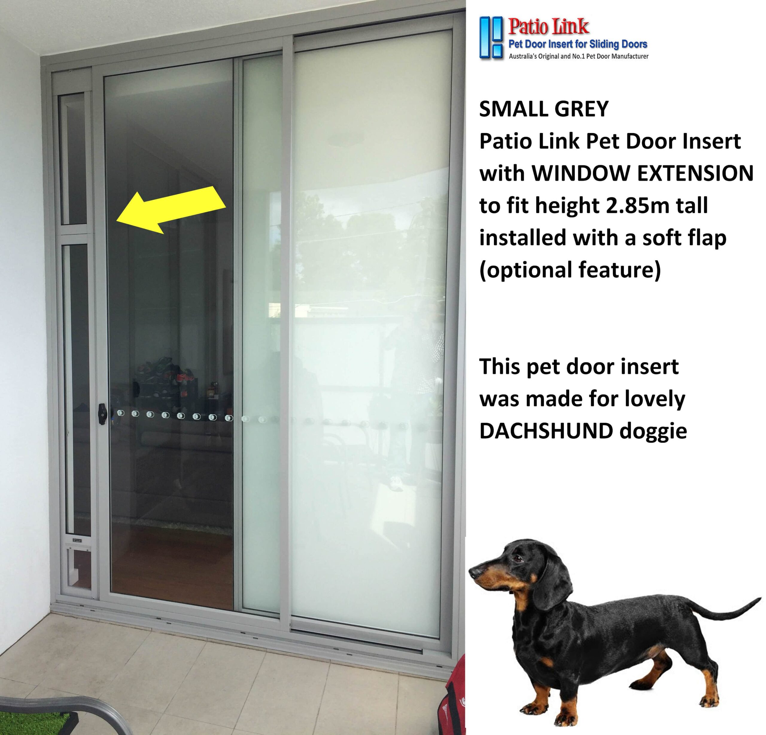 Small Grey Pet Door Insert